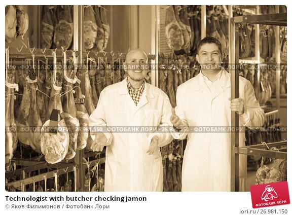 Technologist with butcher checking jamon, фото № 26981150, снято 17 октября 2017 г. (c) Яков Филимонов / Фотобанк Лори