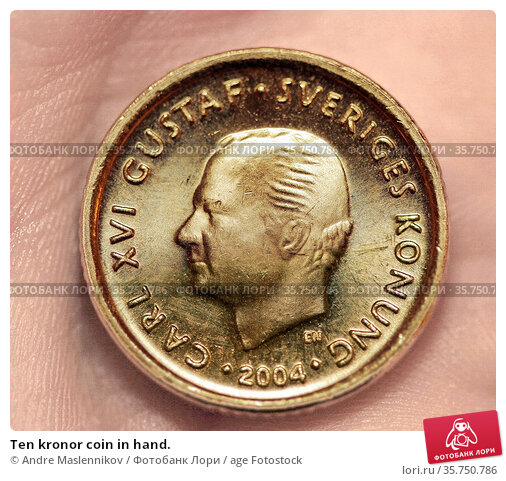 Ten kronor coin in hand. Стоковое фото, фотограф Andre Maslennikov / age Fotostock / Фотобанк Лори