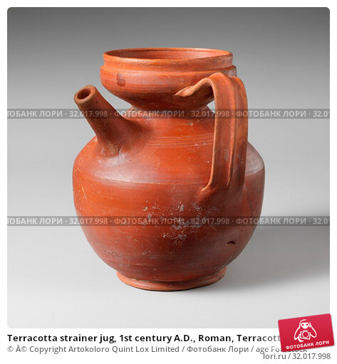 Купить «Terracotta strainer jug, 1st century A.D., Roman, Terracotta, Cypriot sigillata ware, H. 5 7/16 in. (13.9 cm), Vases, Red-glazed vase with filter top and side spout.», фото № 32017998, снято 18 мая 2017 г. (c) age Fotostock / Фотобанк Лори
