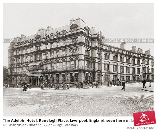 Купить «The Adelphi Hotel, Ranelagh Place, Liverpool, England, seen here in late 19th century. It was bought in 1892 by the Midland Railway and renamed the Midland Adelphi.», фото № 33405686, снято 28 июня 2019 г. (c) age Fotostock / Фотобанк Лори
