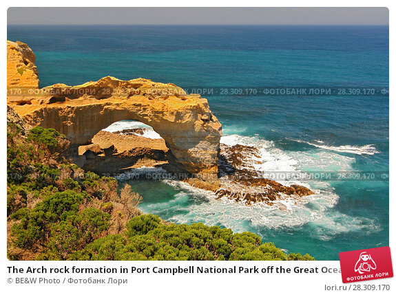 Купить «The Arch rock formation in Port Campbell National Park off the Great Ocean Road in Victoria, Australia», фото № 28309170, снято 22 февраля 2019 г. (c) BE&W Photo / Фотобанк Лори