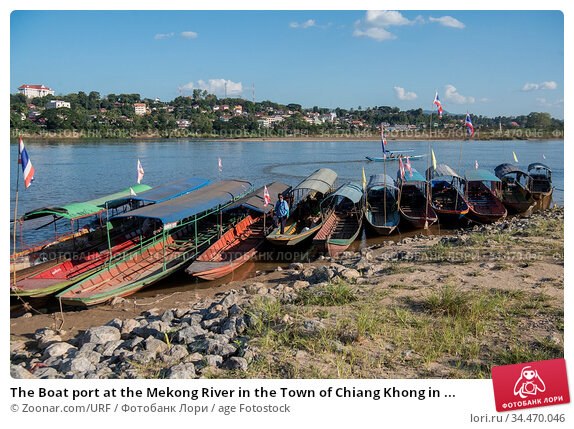 The Boat port at the Mekong River in the Town of Chiang Khong in ... Стоковое фото, фотограф Zoonar.com/URF / age Fotostock / Фотобанк Лори