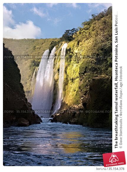 The breathtaking Tamul waterfall, Huasteca Potosina, San Luis Potosi... Стоковое фото, фотограф Dave Stamboulis / age Fotostock / Фотобанк Лори