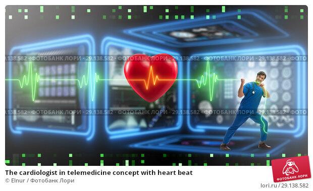 Купить «The cardiologist in telemedicine concept with heart beat», фото № 29138582, снято 20 октября 2018 г. (c) Elnur / Фотобанк Лори