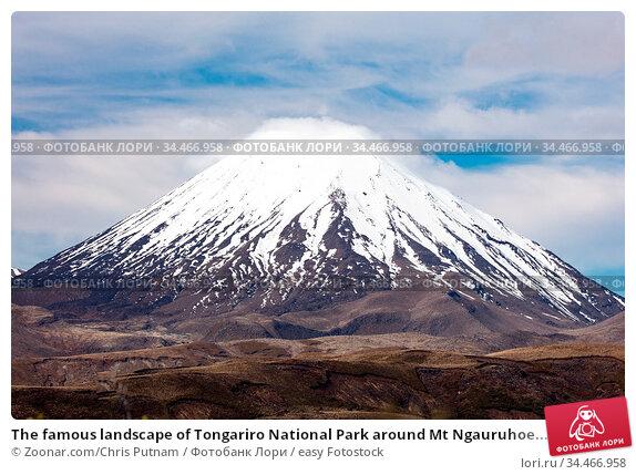 The famous landscape of Tongariro National Park around Mt Ngauruhoe... Стоковое фото, фотограф Zoonar.com/Chris Putnam / easy Fotostock / Фотобанк Лори