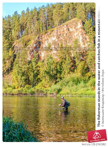 Купить «The fisherman stands in the water and catches fish in a mountain river against the background of a rock covered with forest», фото № 29214582, снято 8 сентября 2017 г. (c) Акиньшин Владимир / Фотобанк Лори