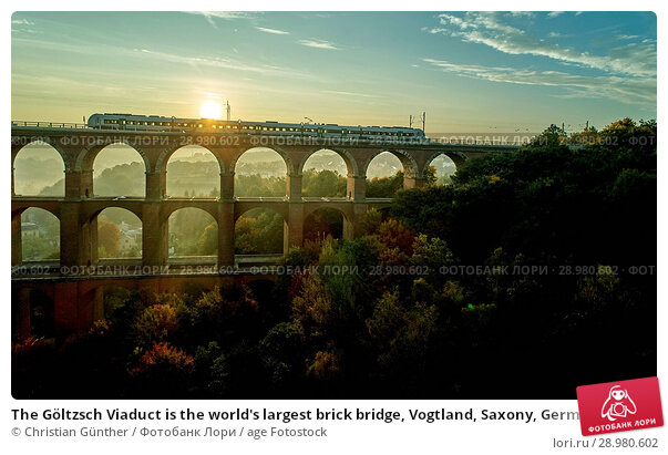 Купить «The Göltzsch Viaduct is the world's largest brick bridge, Vogtland, Saxony, Germany», фото № 28980602, снято 30 сентября 2017 г. (c) age Fotostock / Фотобанк Лори