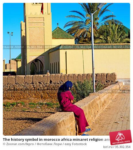The history symbol in morocco africa minaret religion and blue sky. Стоковое фото, фотограф Zoonar.com/lkpro / easy Fotostock / Фотобанк Лори