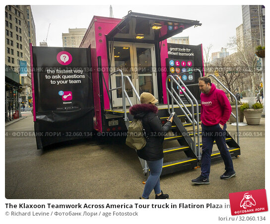 The Klaxoon Teamwork Across America Tour truck in Flatiron Plaza in New York on Monday, February 18, 2018. The hot-pink semi truck demonstrates how the... Редакционное фото, фотограф Richard Levine / age Fotostock / Фотобанк Лори