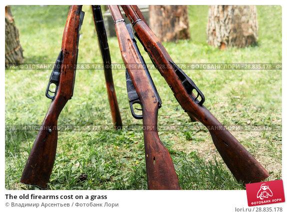 Купить «The old firearms cost on a grass», фото № 28835178, снято 9 мая 2018 г. (c) Владимир Арсентьев / Фотобанк Лори