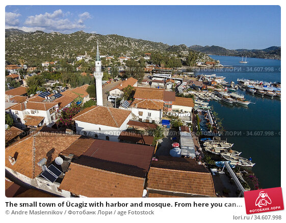 The small town of Ücagiz with harbor and mosque. From here you can... Стоковое фото, фотограф Andre Maslennikov / age Fotostock / Фотобанк Лори