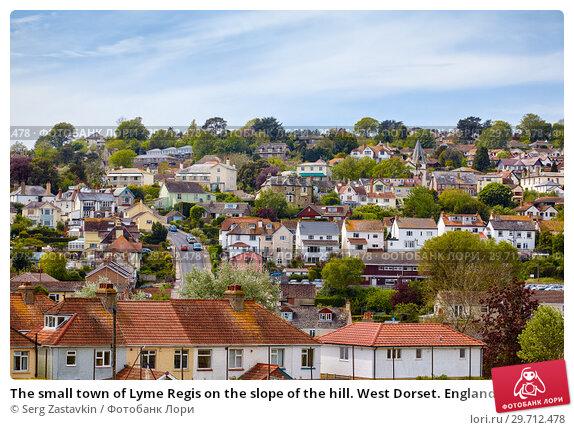 Купить «The small town of Lyme Regis on the slope of the hill. West Dorset. England», фото № 29712478, снято 12 мая 2009 г. (c) Serg Zastavkin / Фотобанк Лори