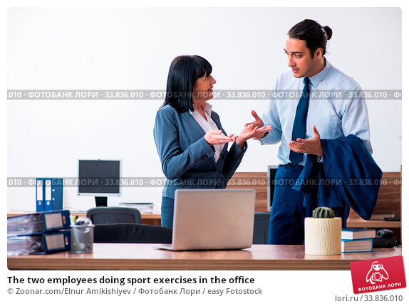 Купить «The two employees doing sport exercises in the office», фото № 33836010, снято 23 мая 2020 г. (c) easy Fotostock / Фотобанк Лори