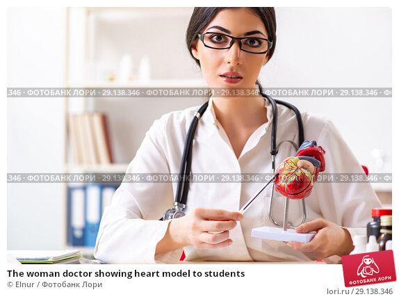 Купить «The woman doctor showing heart model to students», фото № 29138346, снято 5 июля 2018 г. (c) Elnur / Фотобанк Лори
