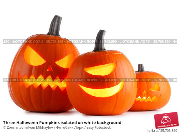 Three Halloween Pumpkins isolated on white background. Стоковое фото, фотограф Zoonar.com/Ivan Mikhaylov / easy Fotostock / Фотобанк Лори