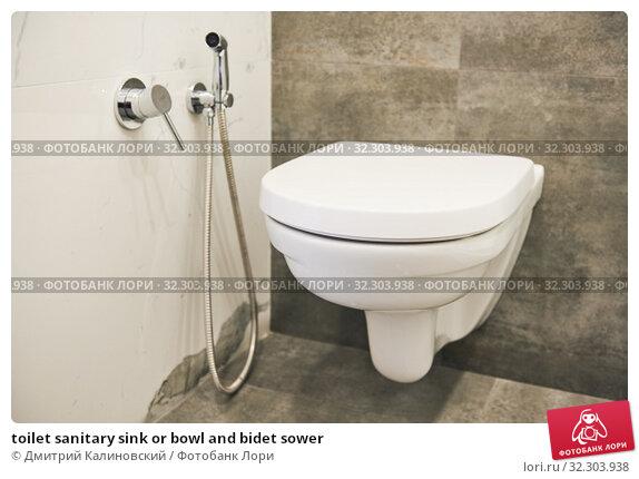 Купить «toilet sanitary sink or bowl and bidet sower», фото № 32303938, снято 26 сентября 2019 г. (c) Дмитрий Калиновский / Фотобанк Лори