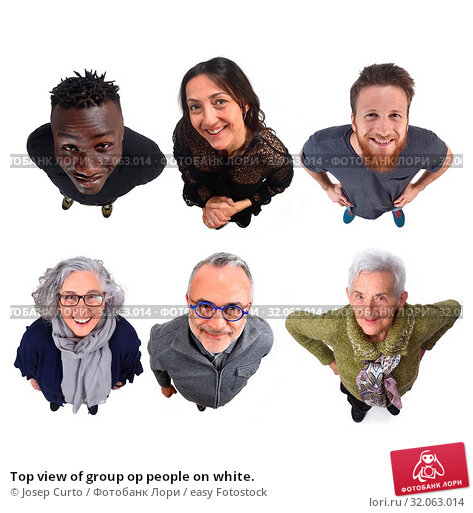 Top view of group op people on white. Стоковое фото, фотограф Josep Curto / easy Fotostock / Фотобанк Лори