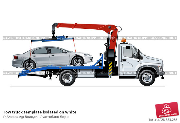 Купить «Tow truck template isolated on white», иллюстрация № 28553286 (c) Александр Володин / Фотобанк Лори