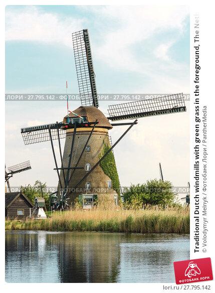 Купить «Traditional Dutch windmills with green grass in the foreground, The Netherlands», фото № 27795142, снято 16 октября 2018 г. (c) PantherMedia / Фотобанк Лори