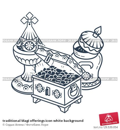 Купить «traditional Magi offerings icon white background», иллюстрация № 29539054 (c) Седых Алена / Фотобанк Лори