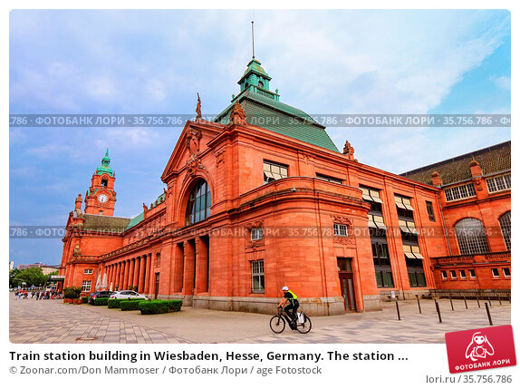 Train station building in Wiesbaden, Hesse, Germany. The station ... Стоковое фото, фотограф Zoonar.com/Don Mammoser / age Fotostock / Фотобанк Лори