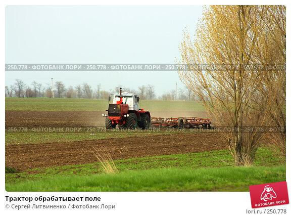 Трактор обрабатывает поле, фото № 250778, снято 13 апреля 2008 г. (c) Сергей Литвиненко / Фотобанк Лори
