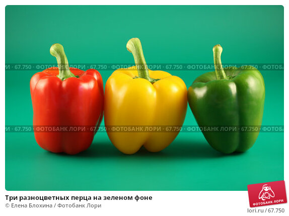 Три разноцветных перца на зеленом фоне, фото № 67750, снято 24 июля 2007 г. (c) Елена Блохина / Фотобанк Лори