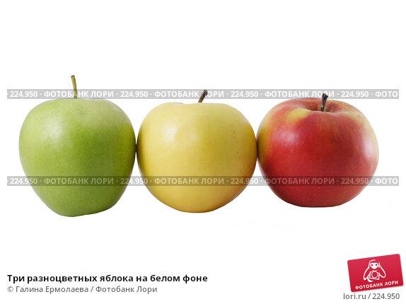 Три разноцветных яблока на белом фоне, фото № 224950, снято 16 марта 2008 г. (c) Галина Ермолаева / Фотобанк Лори