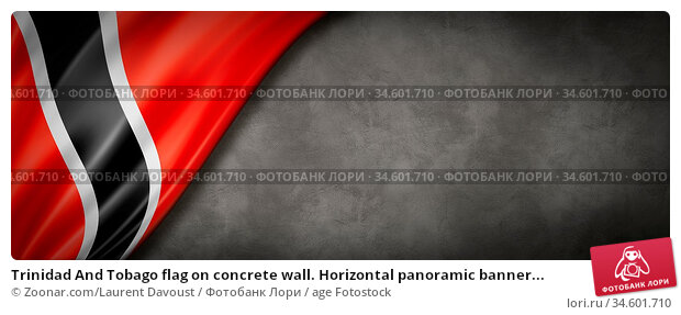 Trinidad And Tobago flag on concrete wall. Horizontal panoramic banner... Стоковое фото, фотограф Zoonar.com/Laurent Davoust / age Fotostock / Фотобанк Лори