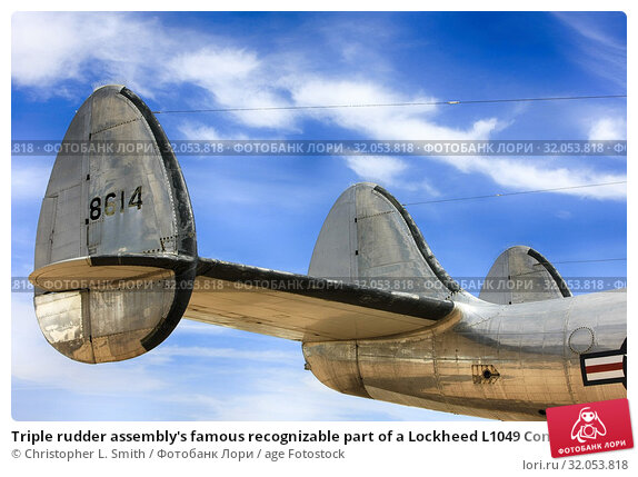 Triple rudder assembly's famous recognizable part of a Lockheed L1049 Constellation aircraft from the 1940s and 50s. Стоковое фото, фотограф Christopher L. Smith / age Fotostock / Фотобанк Лори