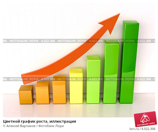 Купить «Цветной график роста, иллюстрация», иллюстрация № 4022306 (c) Алексей Варлаков / Фотобанк Лори