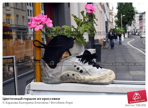 Купить «Цветочный горшок из кроссовки», фото № 159418, снято 20 августа 2007 г. (c) Карасева Екатерина Олеговна / Фотобанк Лори