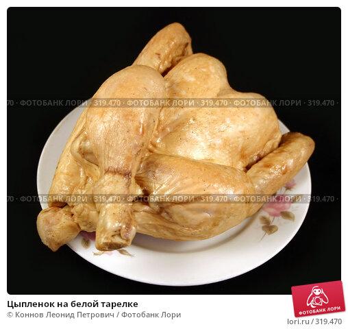 Цыпленок на белой тарелке, фото № 319470, снято 11 июня 2008 г. (c) Коннов Леонид Петрович / Фотобанк Лори