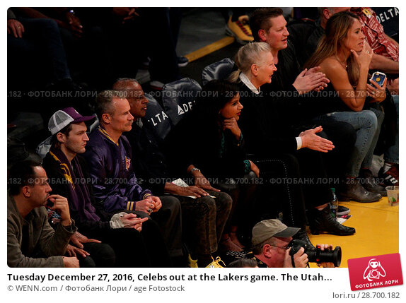 Купить «Tuesday December 27, 2016, Celebs out at the Lakers game. The Utah Jazz defeated the Los Angeles Lakers by the final score of 102-100 at Staples Center...», фото № 28700182, снято 27 декабря 2016 г. (c) age Fotostock / Фотобанк Лори