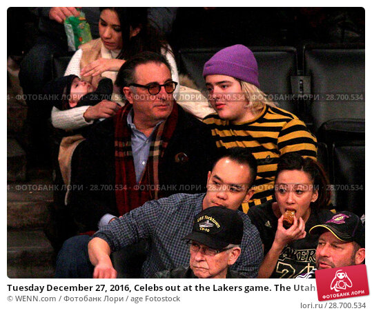 Купить «Tuesday December 27, 2016, Celebs out at the Lakers game. The Utah Jazz defeated the Los Angeles Lakers by the final score of 102-100 at Staples Center...», фото № 28700534, снято 27 декабря 2016 г. (c) age Fotostock / Фотобанк Лори