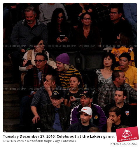 Купить «Tuesday December 27, 2016, Celebs out at the Lakers game. The Utah Jazz defeated the Los Angeles Lakers by the final score of 102-100 at Staples Center...», фото № 28700562, снято 27 декабря 2016 г. (c) age Fotostock / Фотобанк Лори