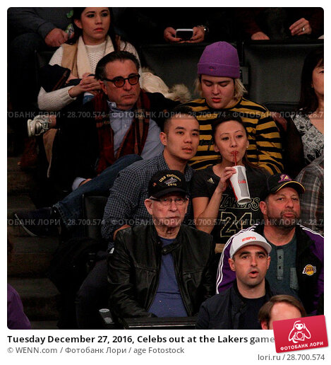 Купить «Tuesday December 27, 2016, Celebs out at the Lakers game. The Utah Jazz defeated the Los Angeles Lakers by the final score of 102-100 at Staples Center...», фото № 28700574, снято 27 декабря 2016 г. (c) age Fotostock / Фотобанк Лори