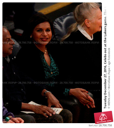 Купить «Tuesday December 27, 2016, Celebs out at the Lakers game. The Utah Jazz defeated the Los Angeles Lakers by the final score of 102-100 at Staples Center...», фото № 28700758, снято 27 декабря 2016 г. (c) age Fotostock / Фотобанк Лори