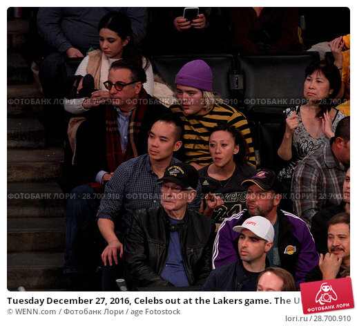 Купить «Tuesday December 27, 2016, Celebs out at the Lakers game. The Utah Jazz defeated the Los Angeles Lakers by the final score of 102-100 at Staples Center...», фото № 28700910, снято 27 декабря 2016 г. (c) age Fotostock / Фотобанк Лори