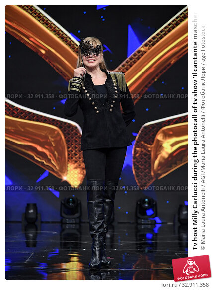 Tv host Milly Carlucci during the photocall of tv show 'Il cantante mascherato' Rome, ITALY-08-01-2020. Редакционное фото, фотограф Maria Laura Antonelli / AGF/Maria Laura Antonelli / age Fotostock / Фотобанк Лори