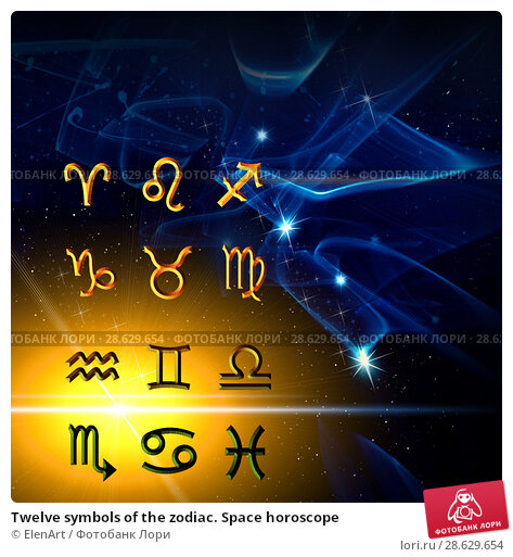 Купить «Twelve symbols of the zodiac. Space horoscope», иллюстрация № 28629654 (c) ElenArt / Фотобанк Лори