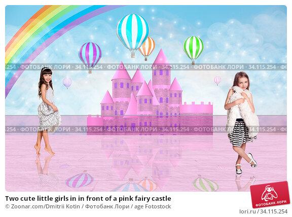 Купить «Two cute little girls in in front of a pink fairy castle», фото № 34115254, снято 11 июля 2020 г. (c) age Fotostock / Фотобанк Лори