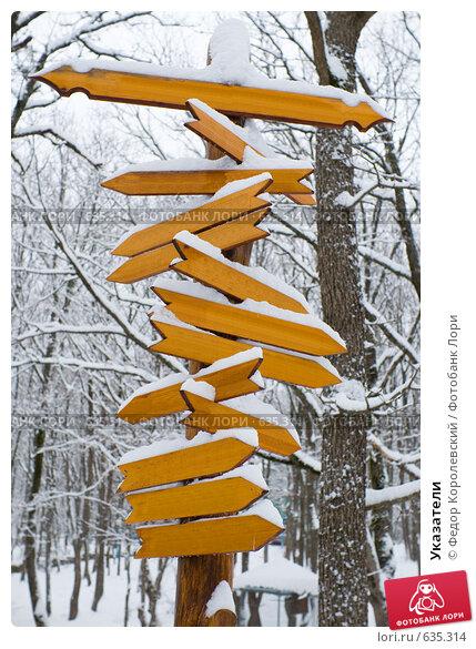 Купить «Указатели», фото № 635314, снято 27 декабря 2008 г. (c) Федор Королевский / Фотобанк Лори