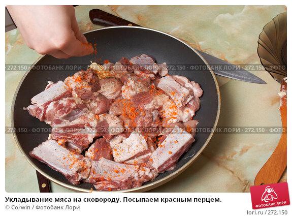 Укладывание мяса на сковороду. Посыпаем красным перцем., фото № 272150, снято 2 марта 2008 г. (c) Corwin / Фотобанк Лори
