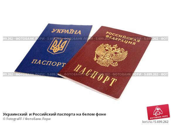 Купить «Украинский  и Российский паспорта на белом фоне», фото № 5699262, снято 21 июля 2019 г. (c) FotograFF / Фотобанк Лори
