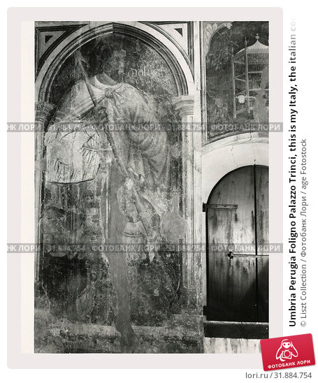 Umbria Perugia Foligno Palazzo Trinci, this is my Italy, the italian country of visual history, Post-medieval 14th century architecture 1389-1407, 19th... (2018 год). Редакционное фото, фотограф Liszt Collection / age Fotostock / Фотобанк Лори