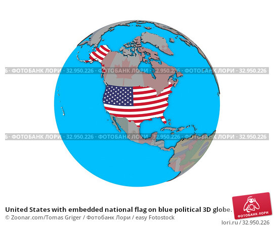 United States with embedded national flag on blue political 3D globe. 3D illustration isolated on white background. Стоковое фото, фотограф Zoonar.com/Tomas Griger / easy Fotostock / Фотобанк Лори