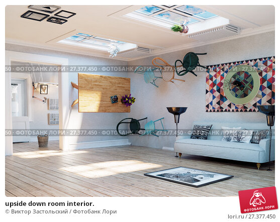 Купить «upside down room interior.», фото № 27377450, снято 21 января 2018 г. (c) Виктор Застольский / Фотобанк Лори