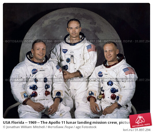 Купить «USA Florida -- 1969 -- The Apollo 11 lunar landing mission crew, pictured from left to right, Neil A. Armstrong, commander, Michael Collins, command module...», фото № 31897294, снято 14 ноября 2019 г. (c) age Fotostock / Фотобанк Лори