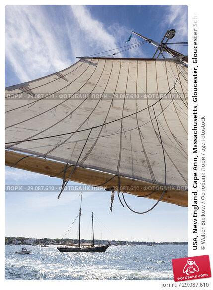 Купить «USA, New England, Cape Ann, Massachusetts, Gloucester, Gloucester Schooner Festival, schooner sails.», фото № 29087610, снято 4 сентября 2017 г. (c) age Fotostock / Фотобанк Лори
